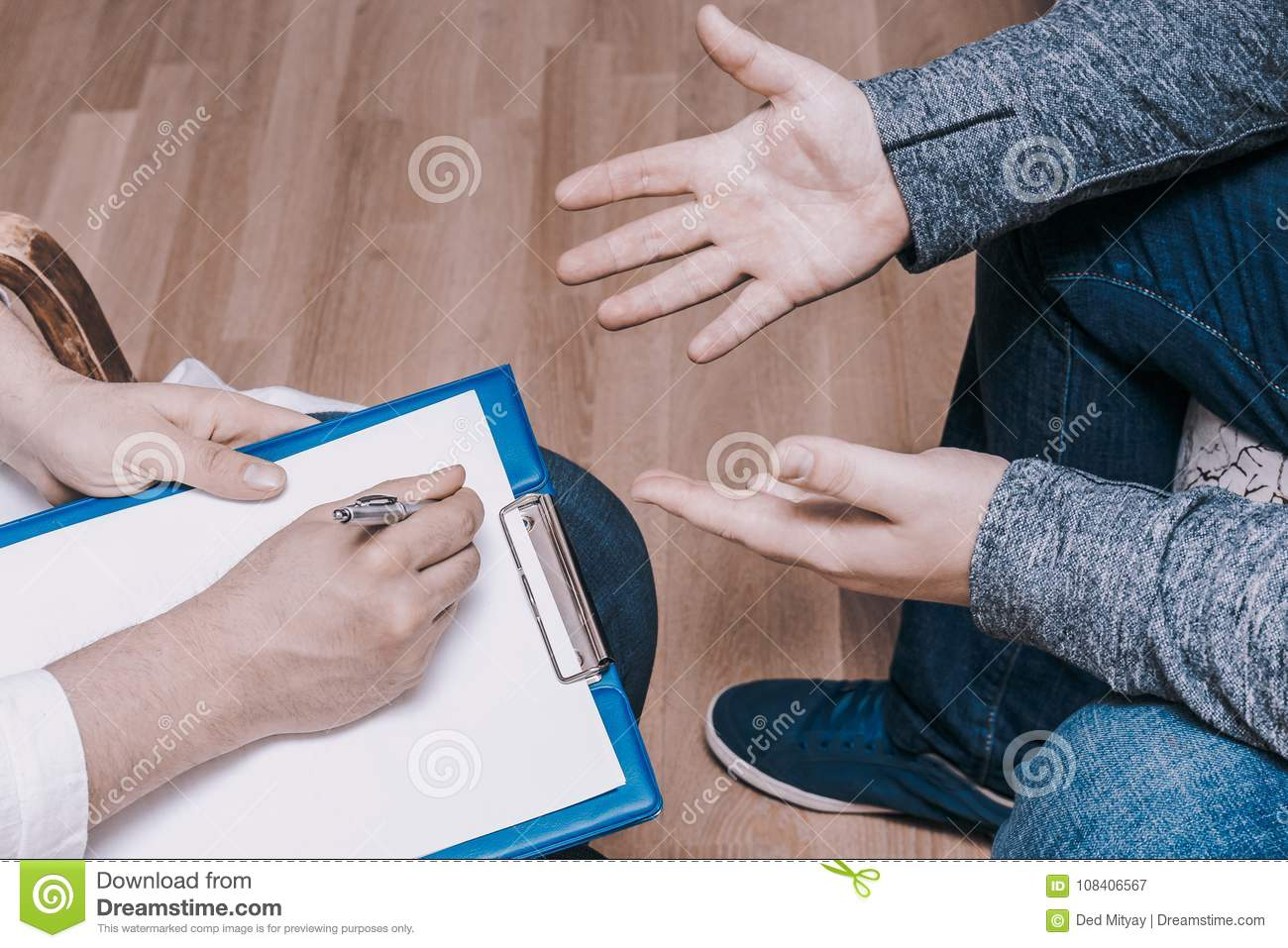 Psychologist consulting concept. Doctor consult in psychotherapy session or counsel diagnosis mental health of male patient
