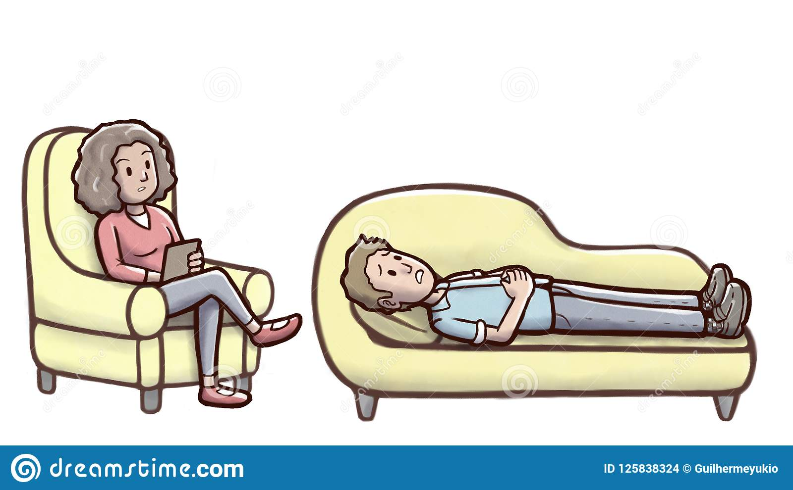 Psychologist Woman In A Therapy Session With A Man On Couch