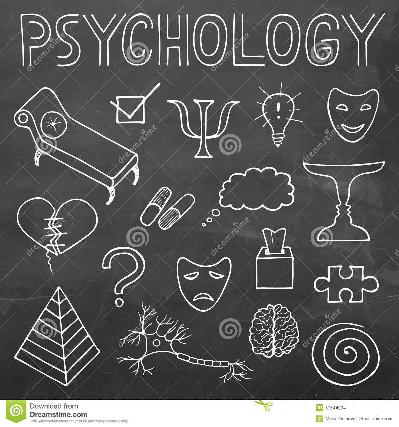 Psychology Hand Drawn Doodle Set And Typography On Chalkboard Ba