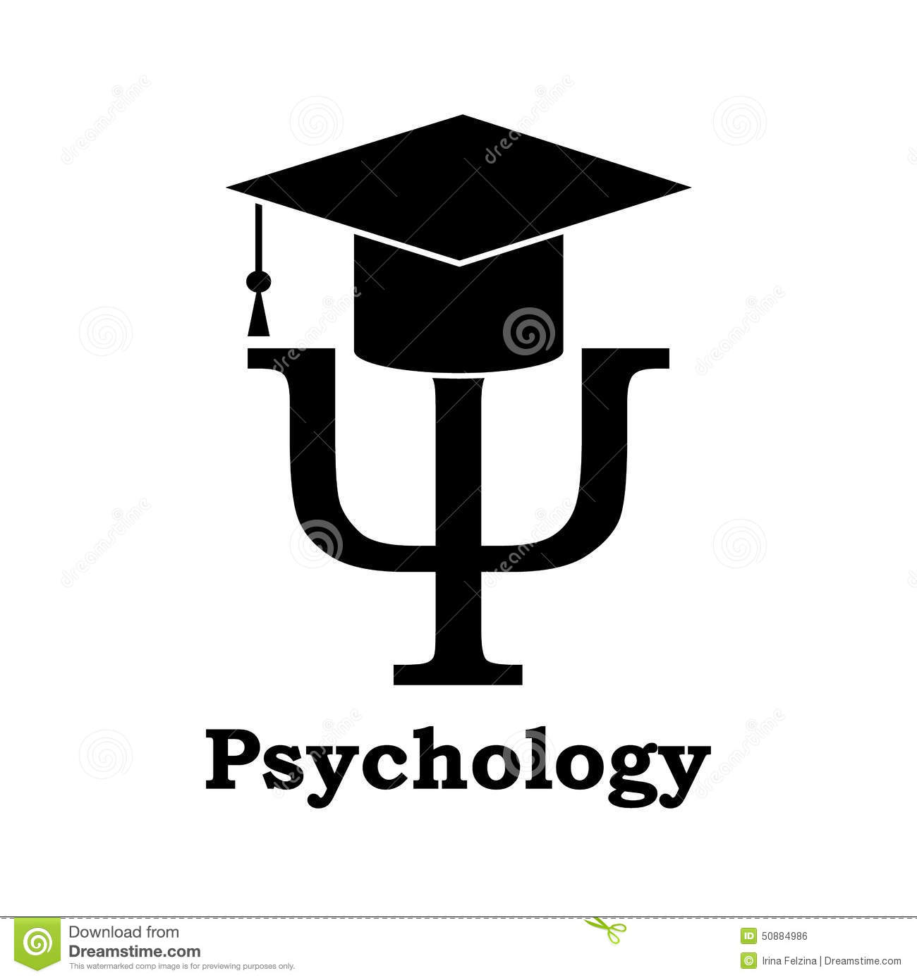 Psychology learning. Black Psi letter with graduation hat on white.