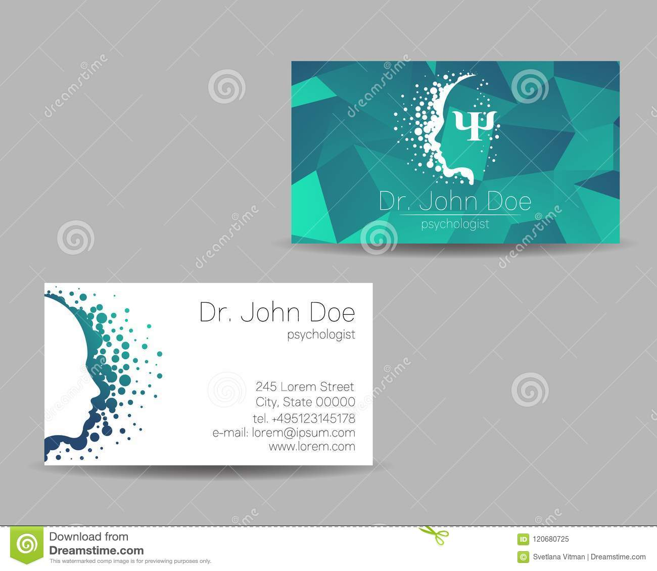 Psychology Vector Visit Card Modern Sign Creative Style Design Concept Brand Company Green Color Isolated On Grey Stock Vector Illustration Of Creative Name 120680725