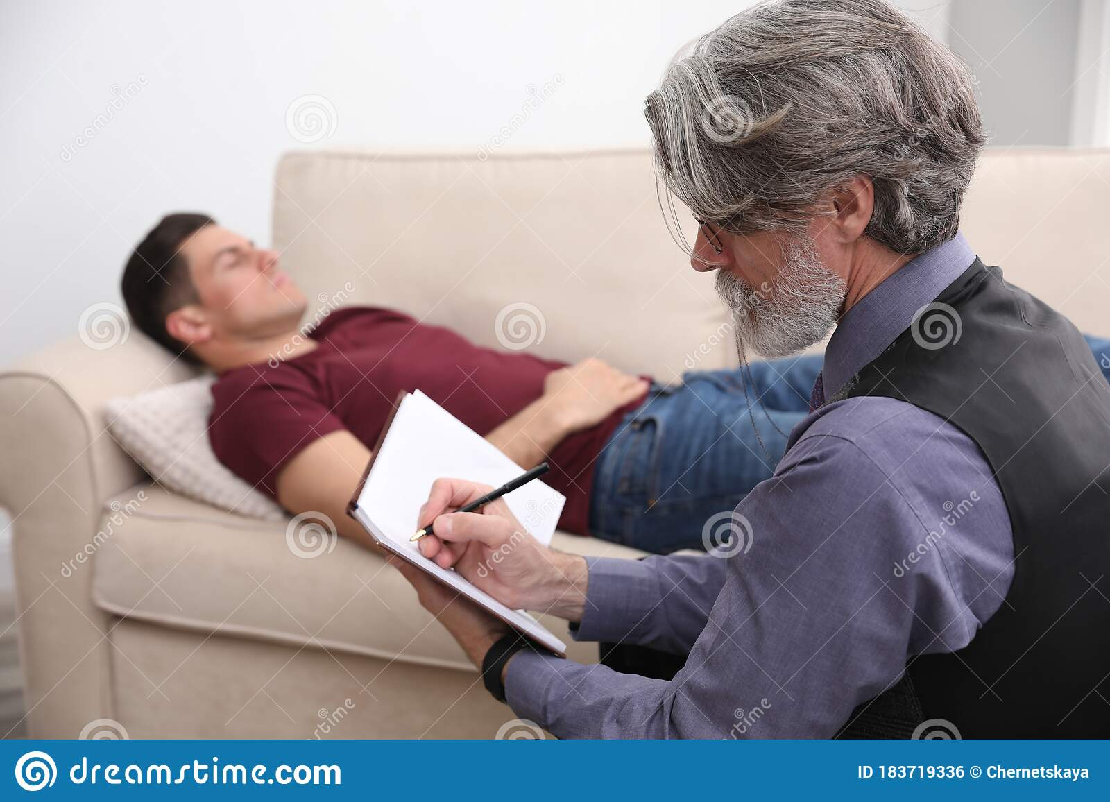Psychotherapist And Patient. Hypnotherapy Session Stock ...