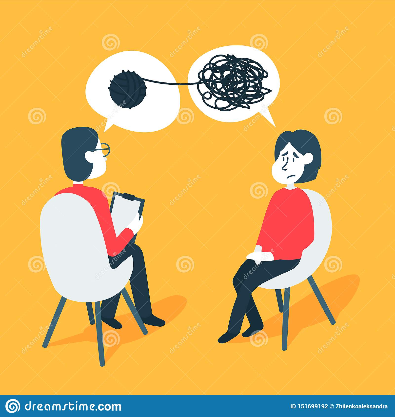 Psychotherapy counseling concept. Psychologist man and young woman patient in therapy session. Treatment of stress
