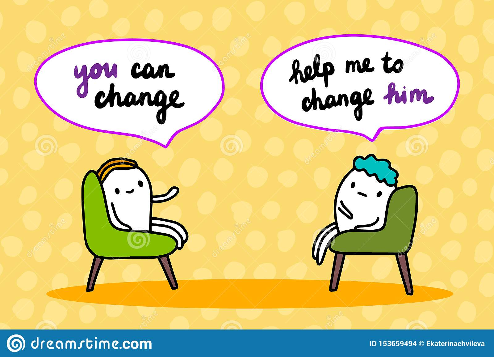 Psychotherapy hand drawn vector illustration. Cartoon men talking. You can change session in cabinet