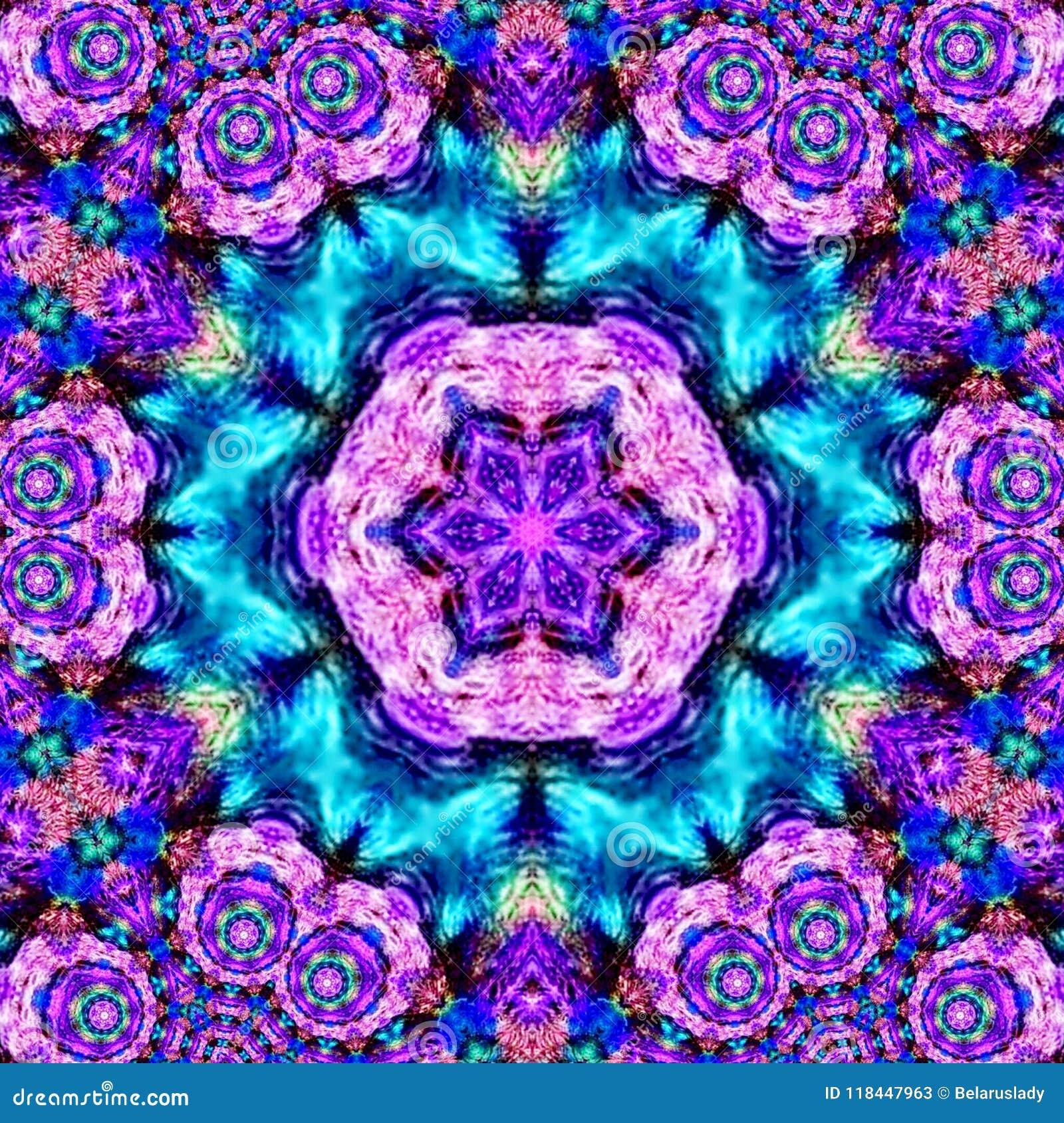 Psykedelisk Henna Mandala Doodle Flower violetarabesque