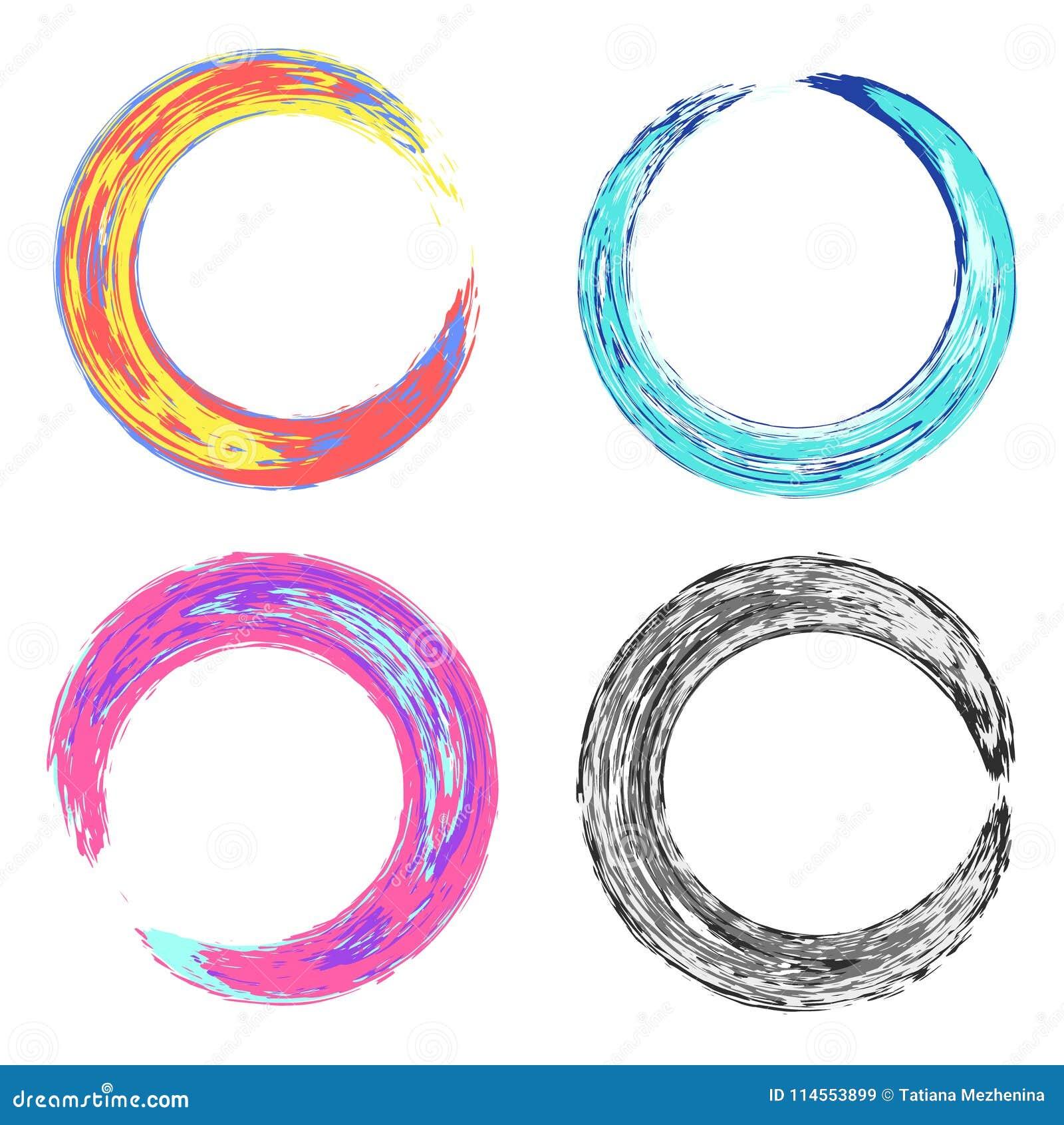 Psykedeliska färgrika runda grungy texturramar