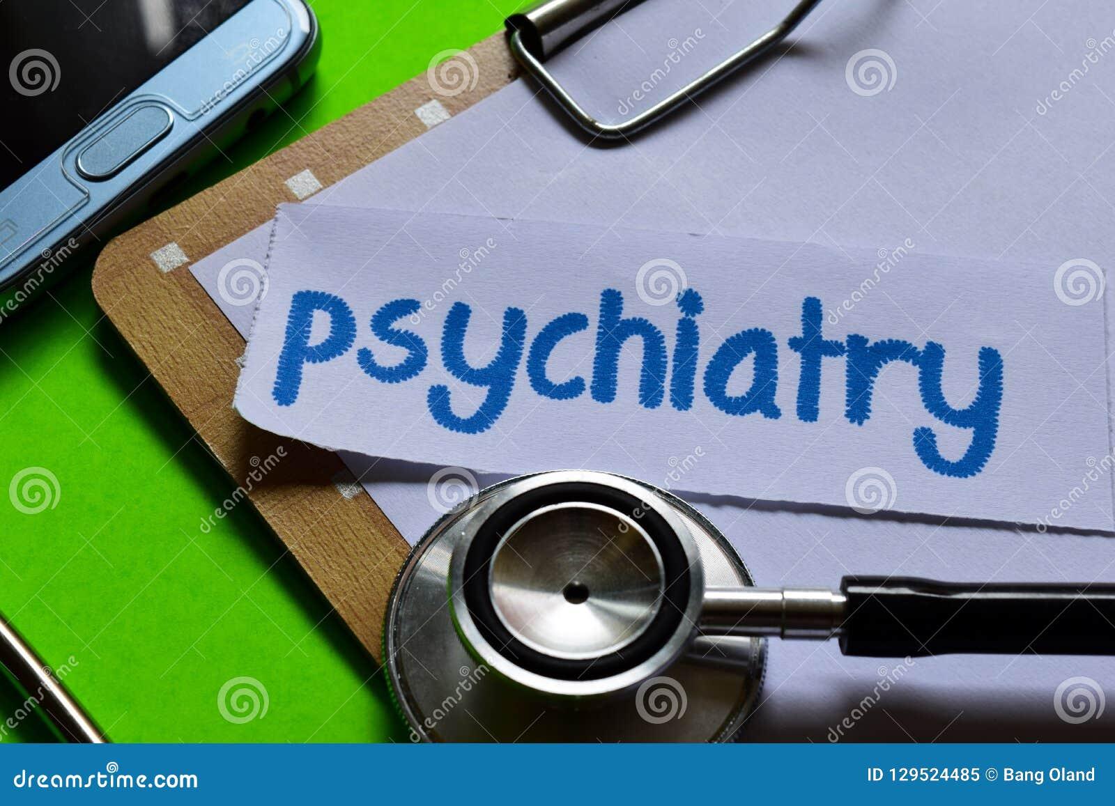Psykiatri på sjukvårdbegrepp med grön bakgrund