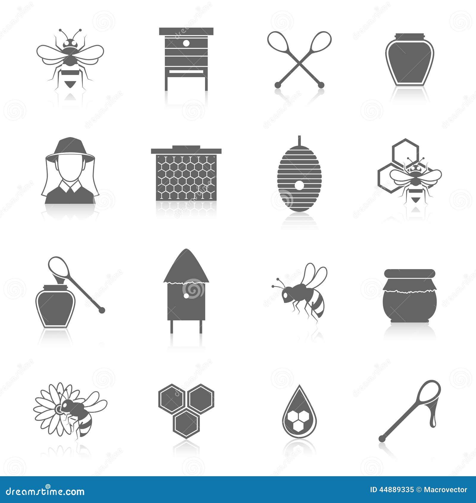 Pszczół ikon czerni miodowy set