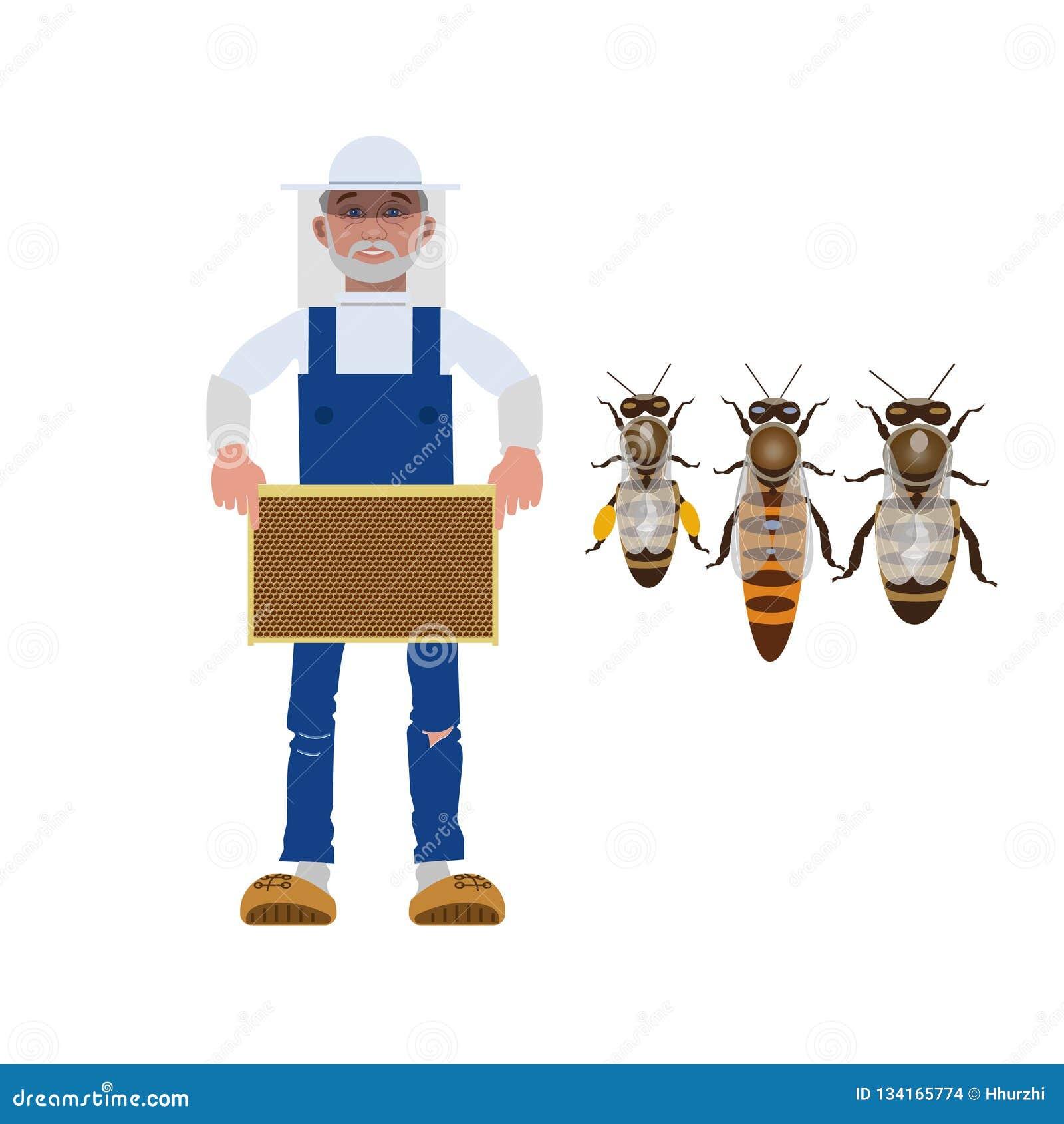 Pszczelarka z pszczołami