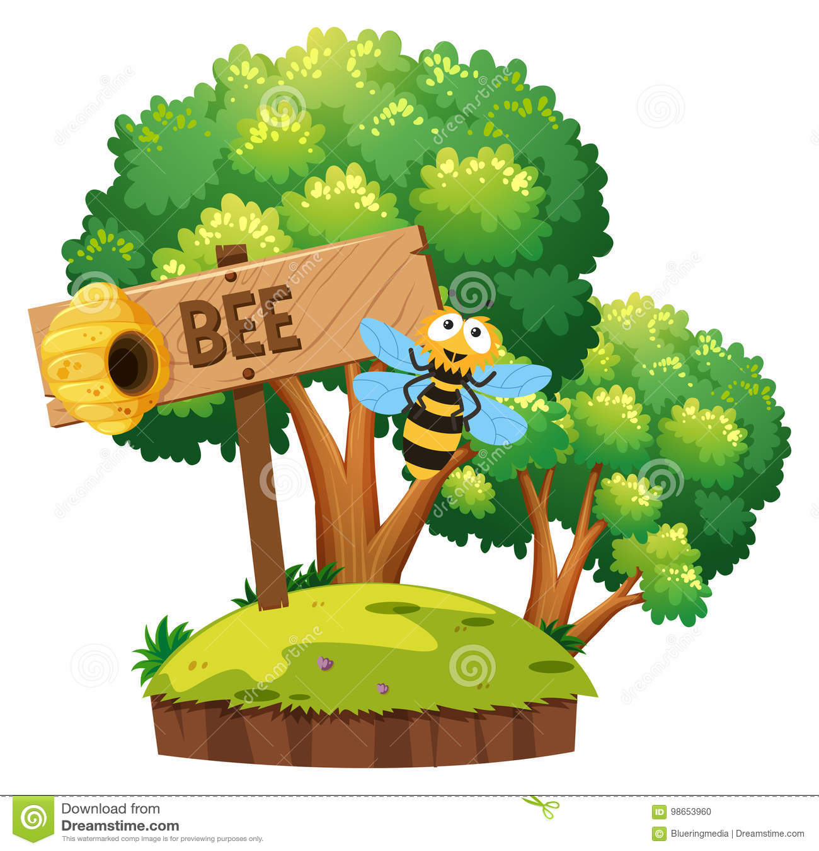 Pszczoła lata wokoło w ogródzie