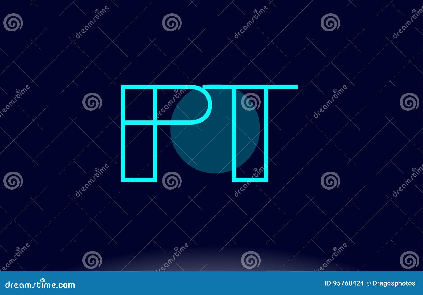 pt p t blue line circle alphabet letter logo icon template vecto