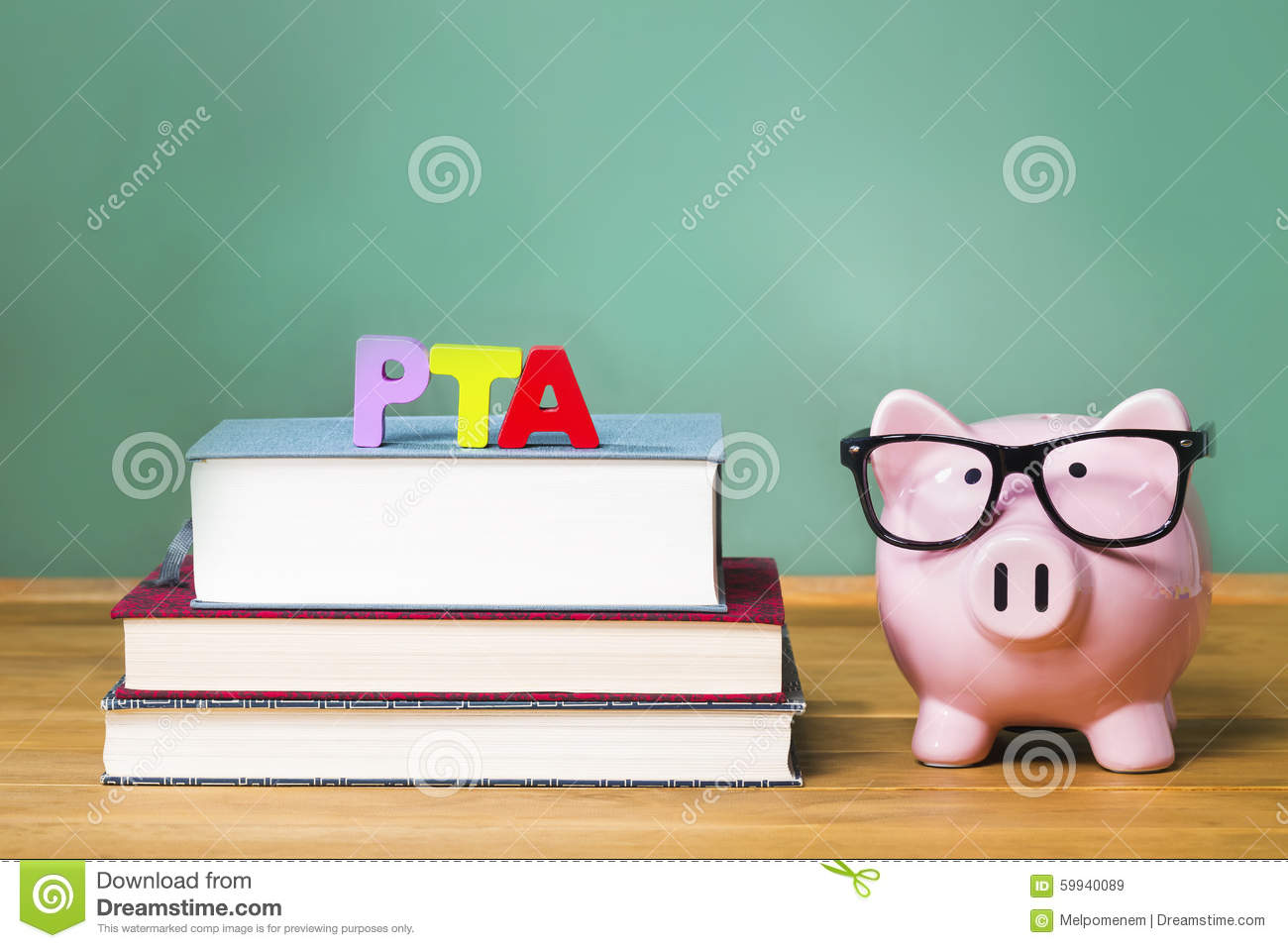 pta theme with pink piggy bank with chalkboard stock photo