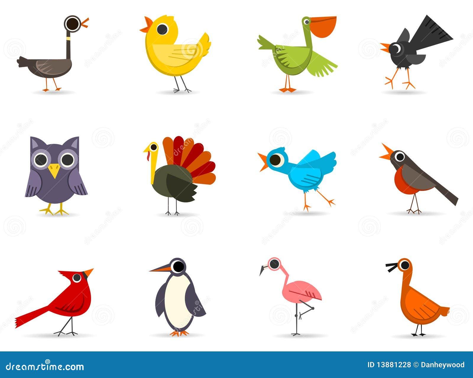 Ptaków ikony set