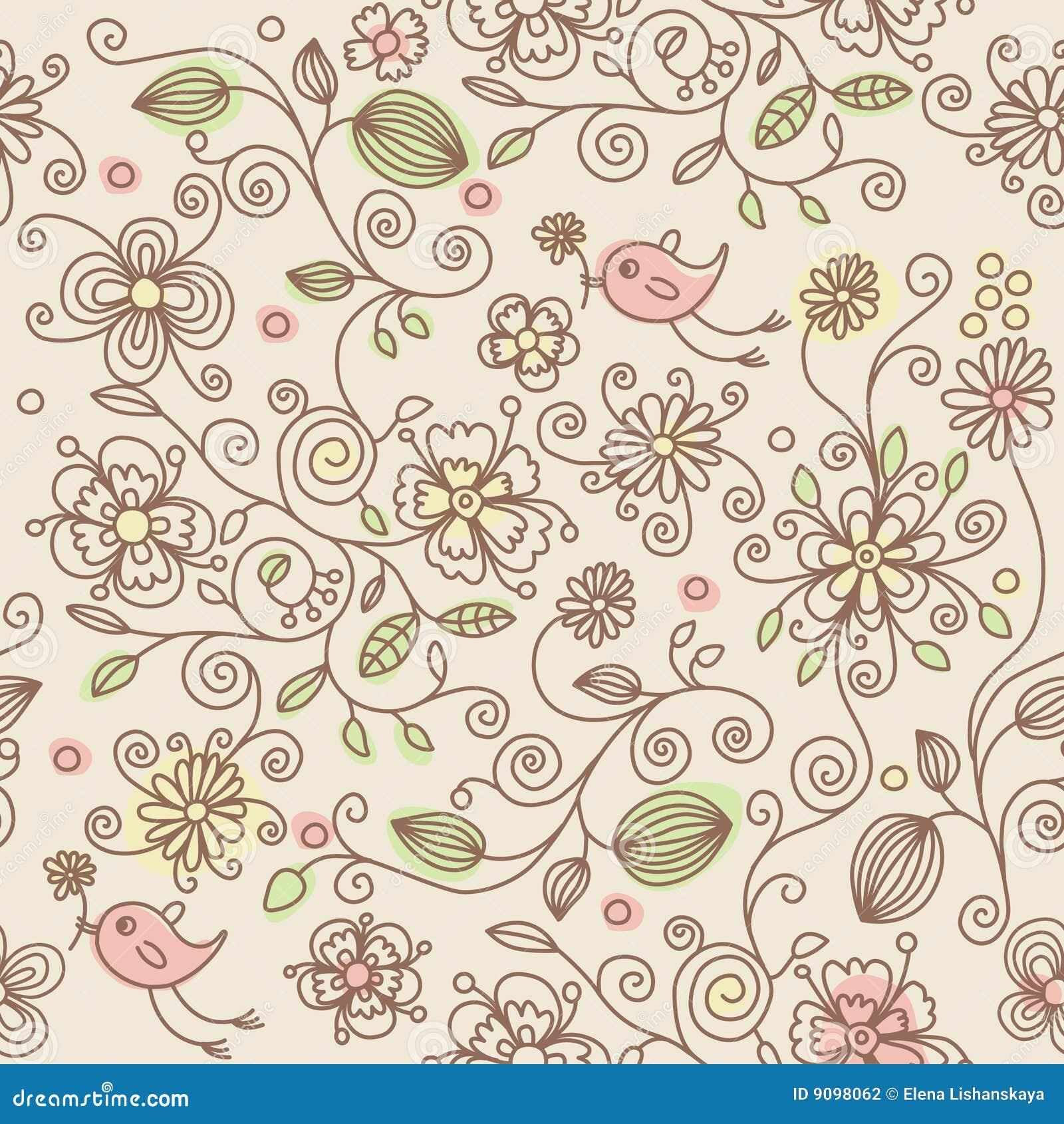 Ptaków kwiatów wzór bezszwowy
