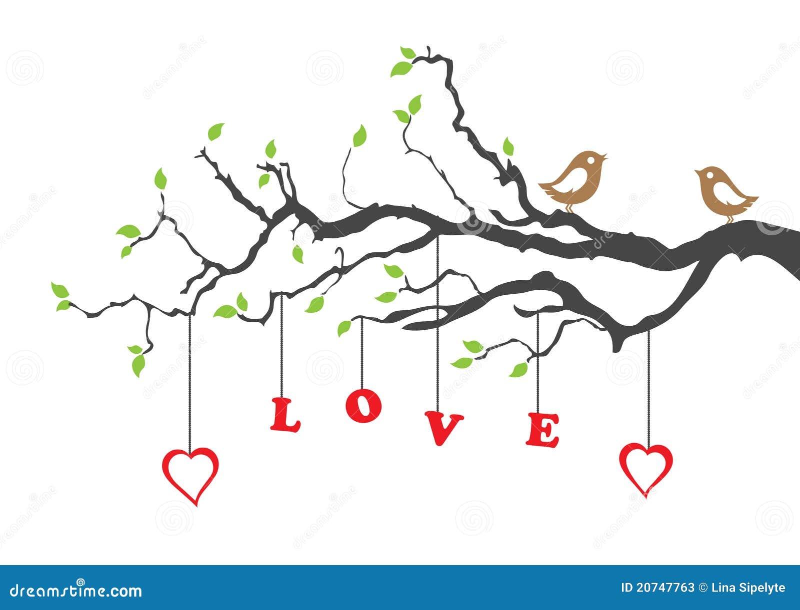Ptaków miłości drzewo dwa