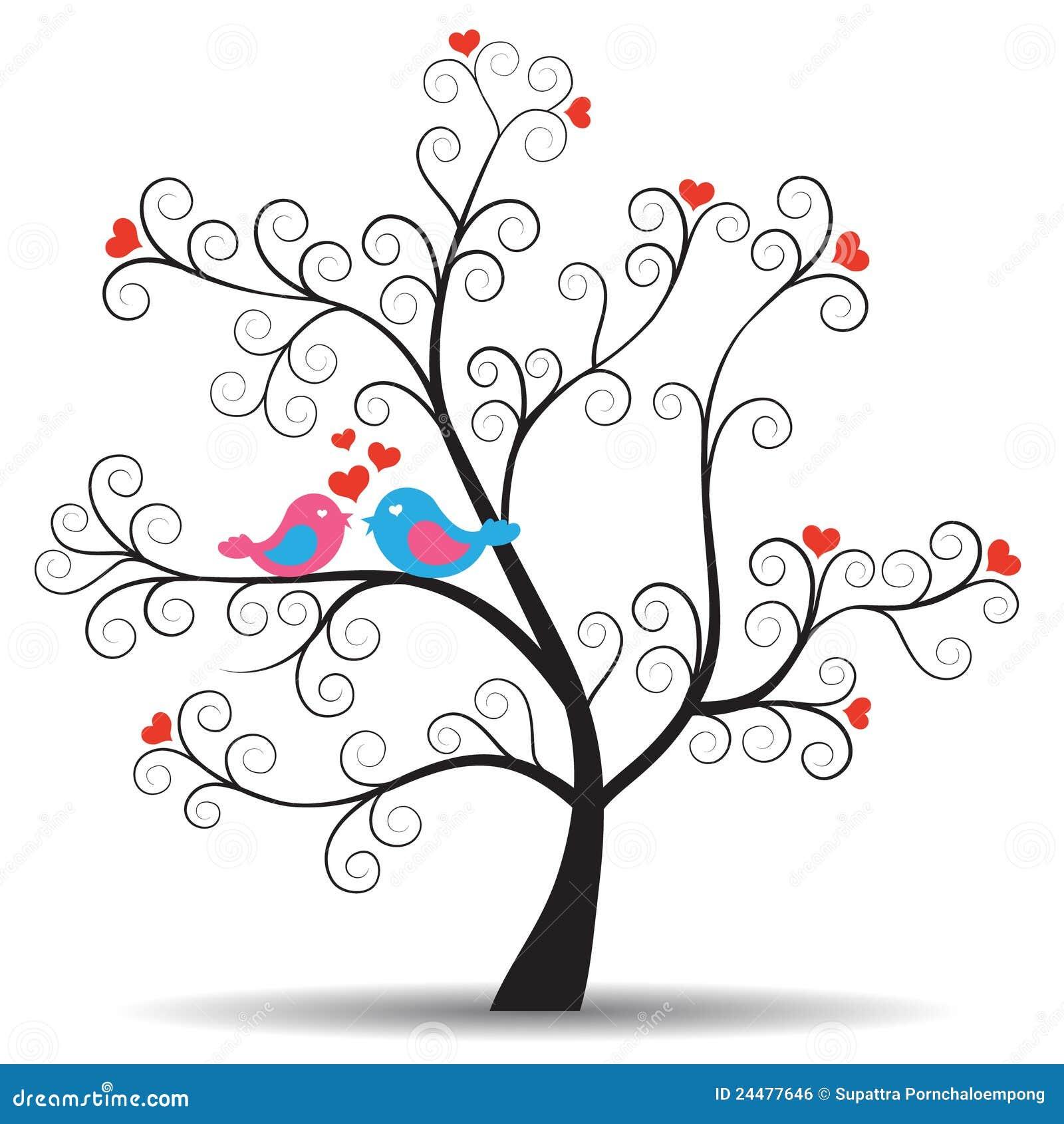 Ptaków pary inlove romantyczny drzewo