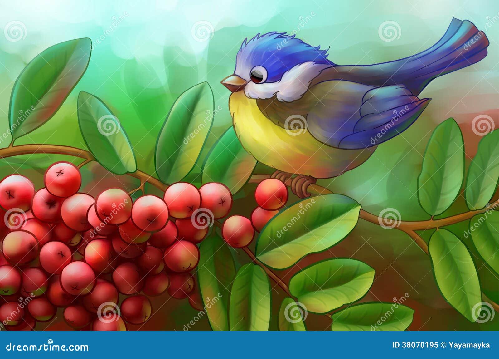 Ptak na gałąź halny popiół