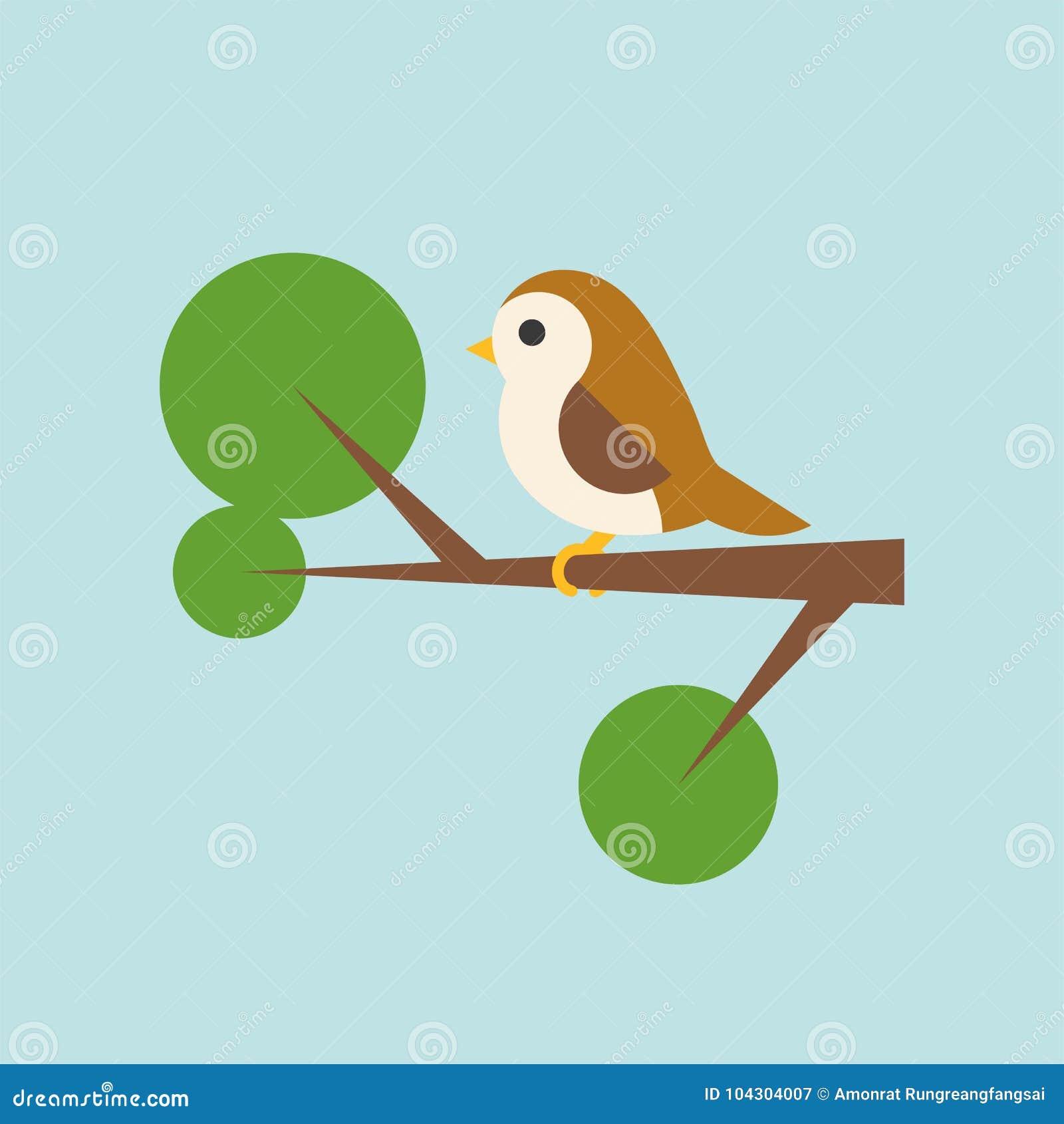 Ptak na gałęziastej ikonie