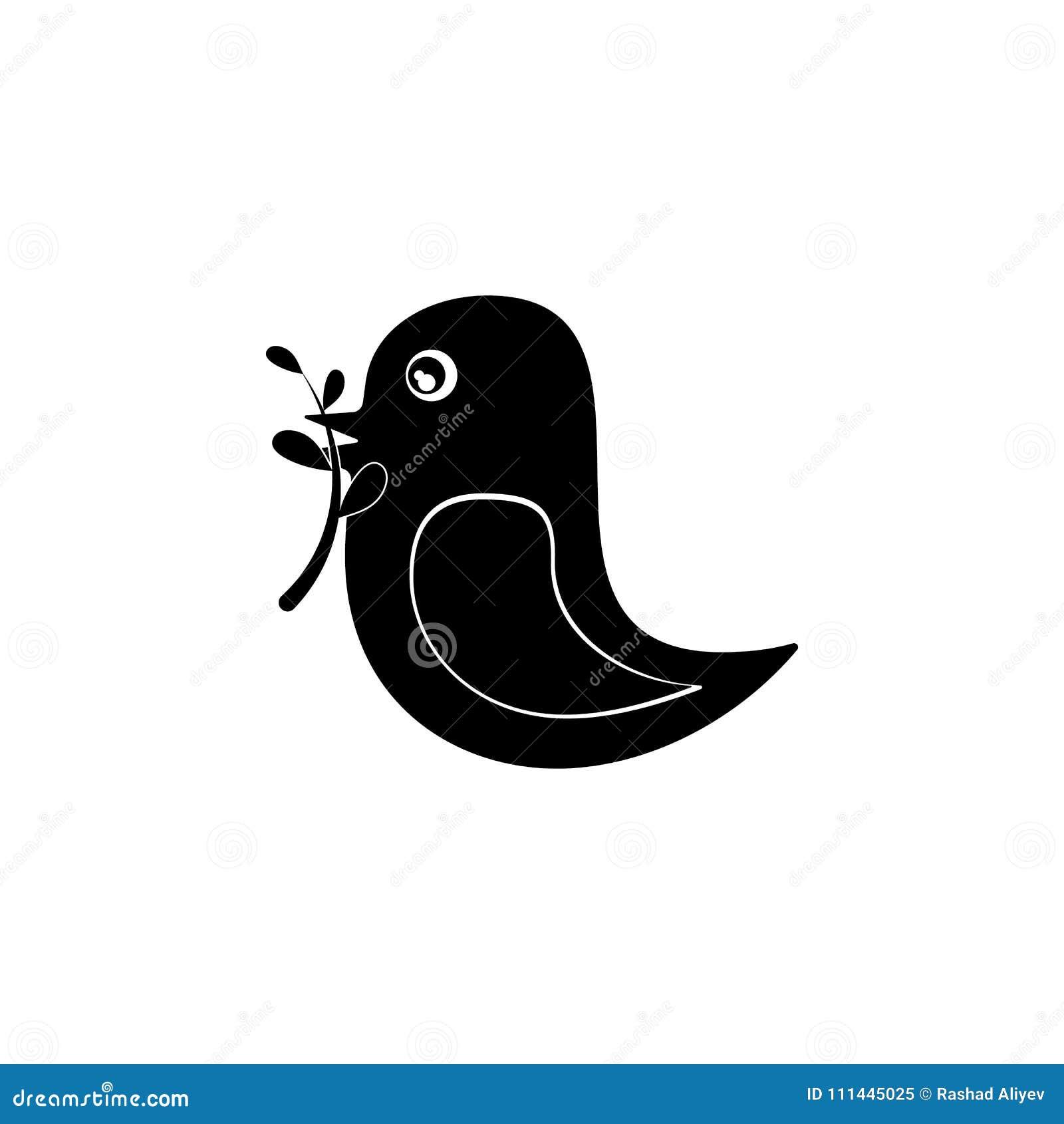 Ptak trzyma gałąź w swój belfer ikonie Szczegółowa ikona ekologia podpisuje ikonę Premii ilości graficzny projekt Jeden collecti