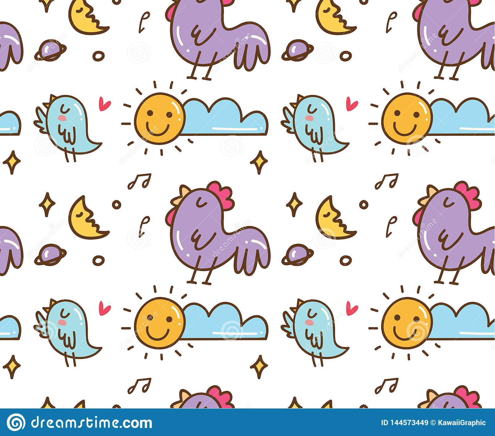 Ptaka i kurczaka śpiew w ranku bezszwowym tle