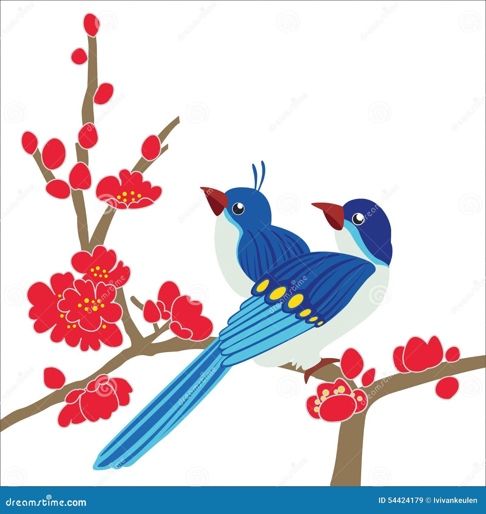 Ptaka okwitnięcia śliwkowa gałąź