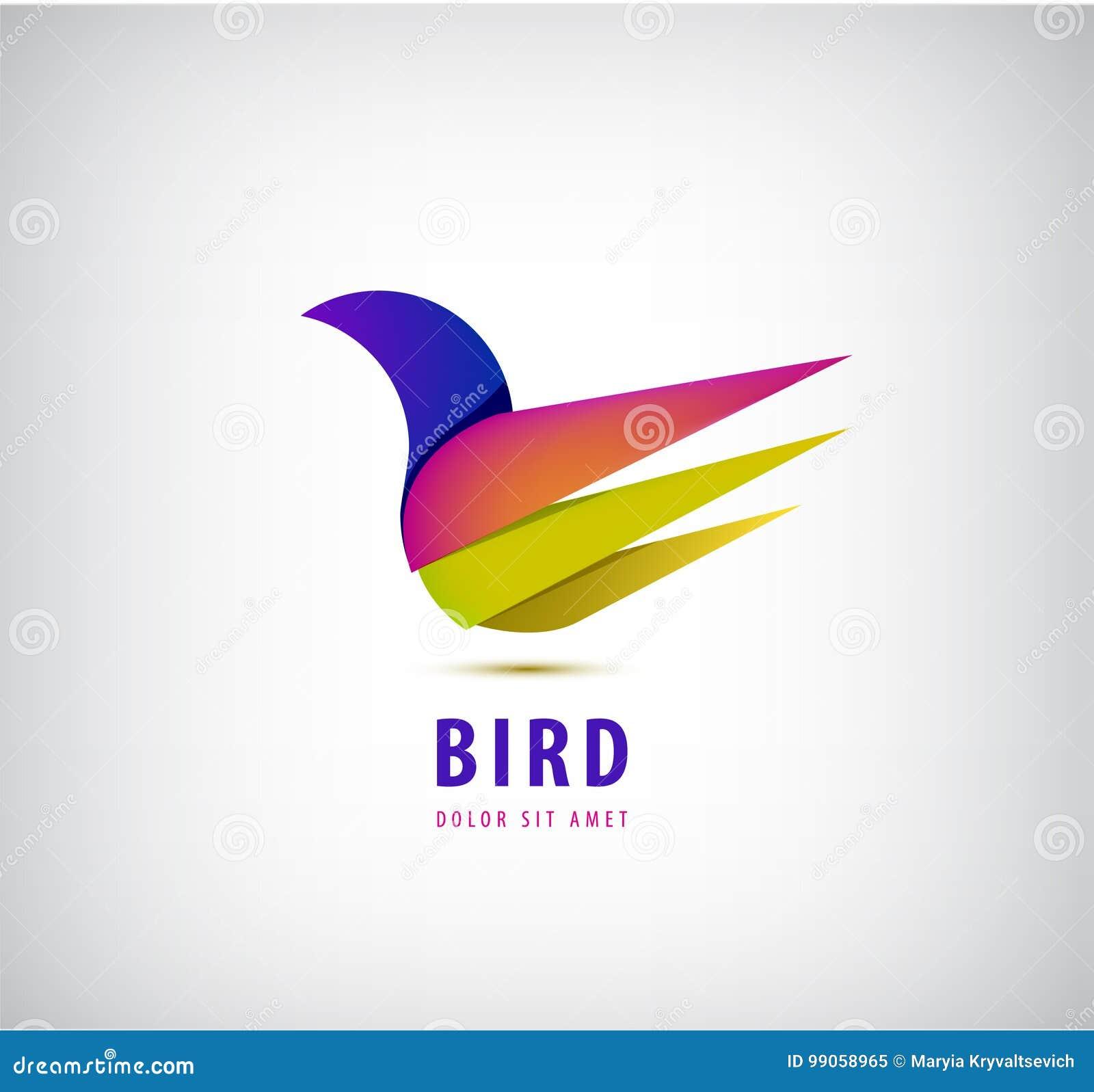 Ptasi 3d abstrakcjonistyczny kolorowy gatunek, zwierzęcy logo, hotelowa moda i sporty, oznakujemy pojęcie