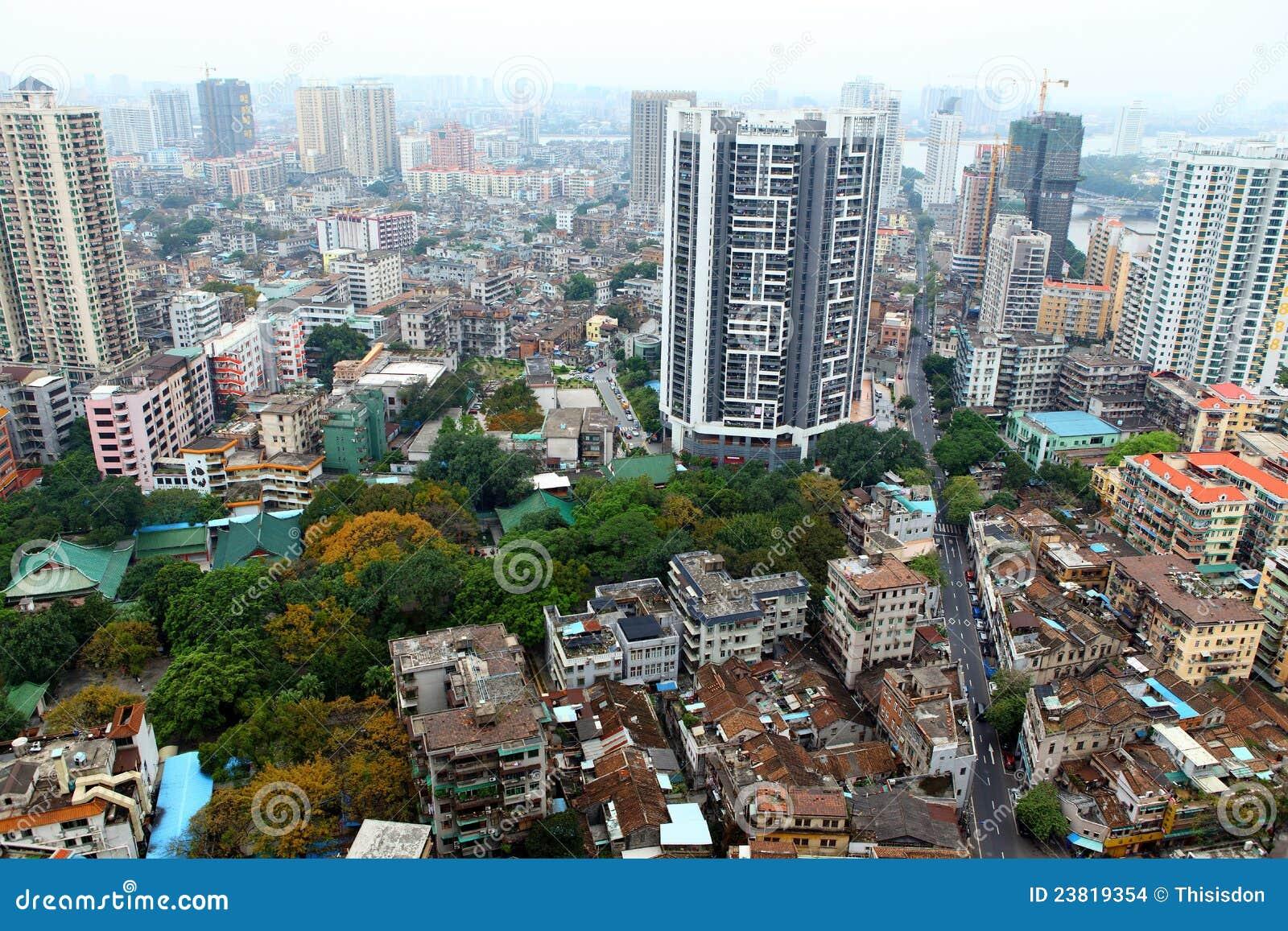 Ptasi porcelanowy oka Guangzhou s widok