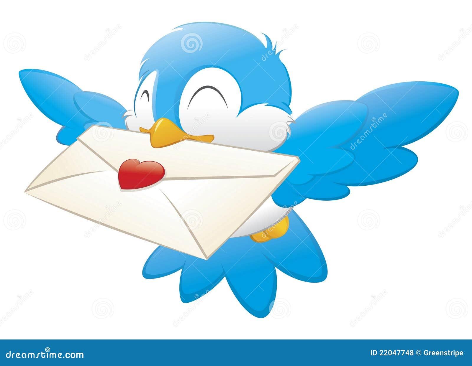 Ptasia przewożenia kreskówki listu miłość