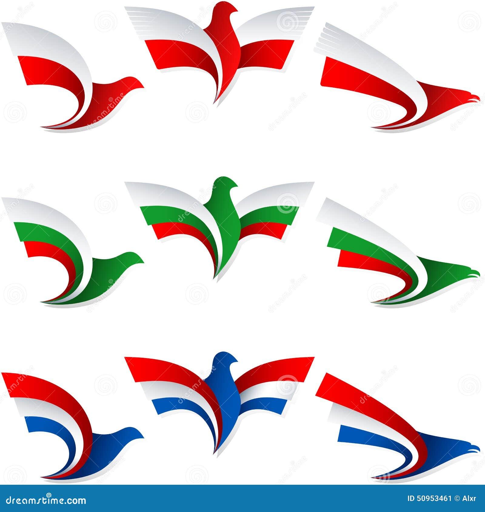 Ptasie komarnicy flaga znaka symbolu insygni Polska Bułgaria holandie