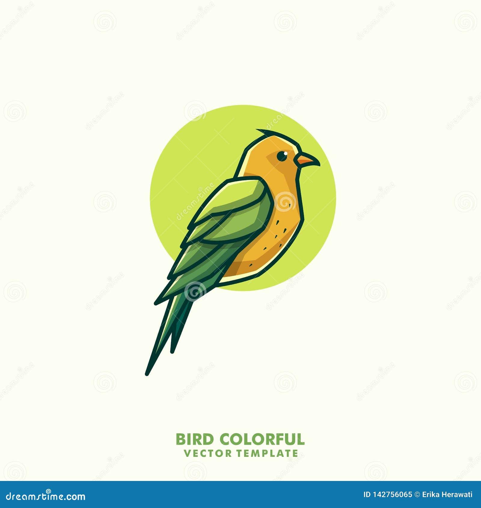 Ptasiego Kolorowego Kreskowej sztuki pojęcia ilustracyjny wektorowy szablon