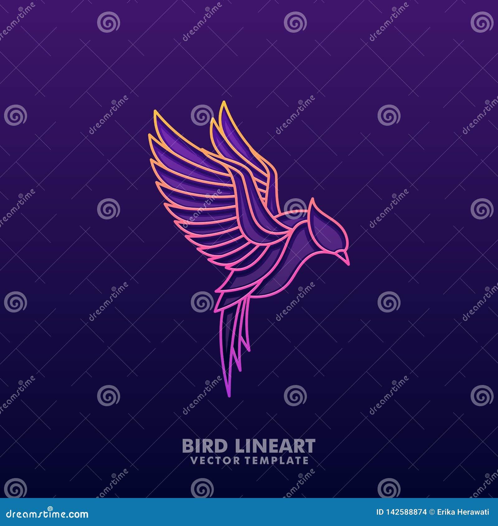 Ptasiego Kolorowego Kreskowej sztuki pojęcia projekta ilustracyjny wektorowy szablon