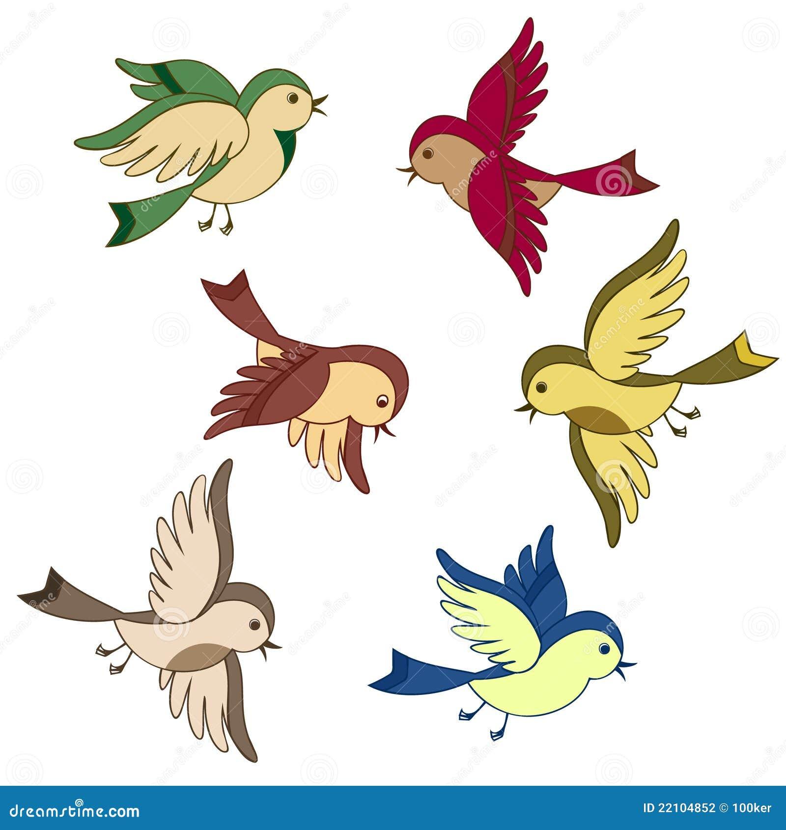 Ptasiej kreskówki latający set