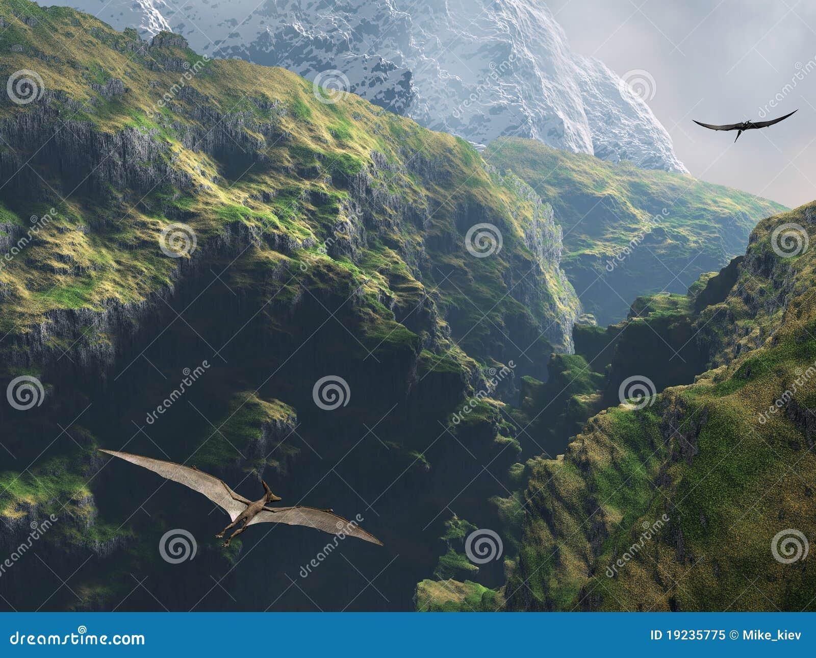 Pteranodon Flugwesen durch die Schlucht