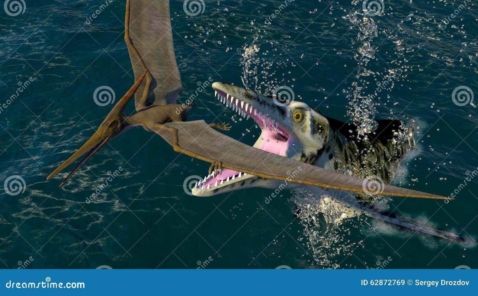 Pteranodon och en rov- havsdinosaurie