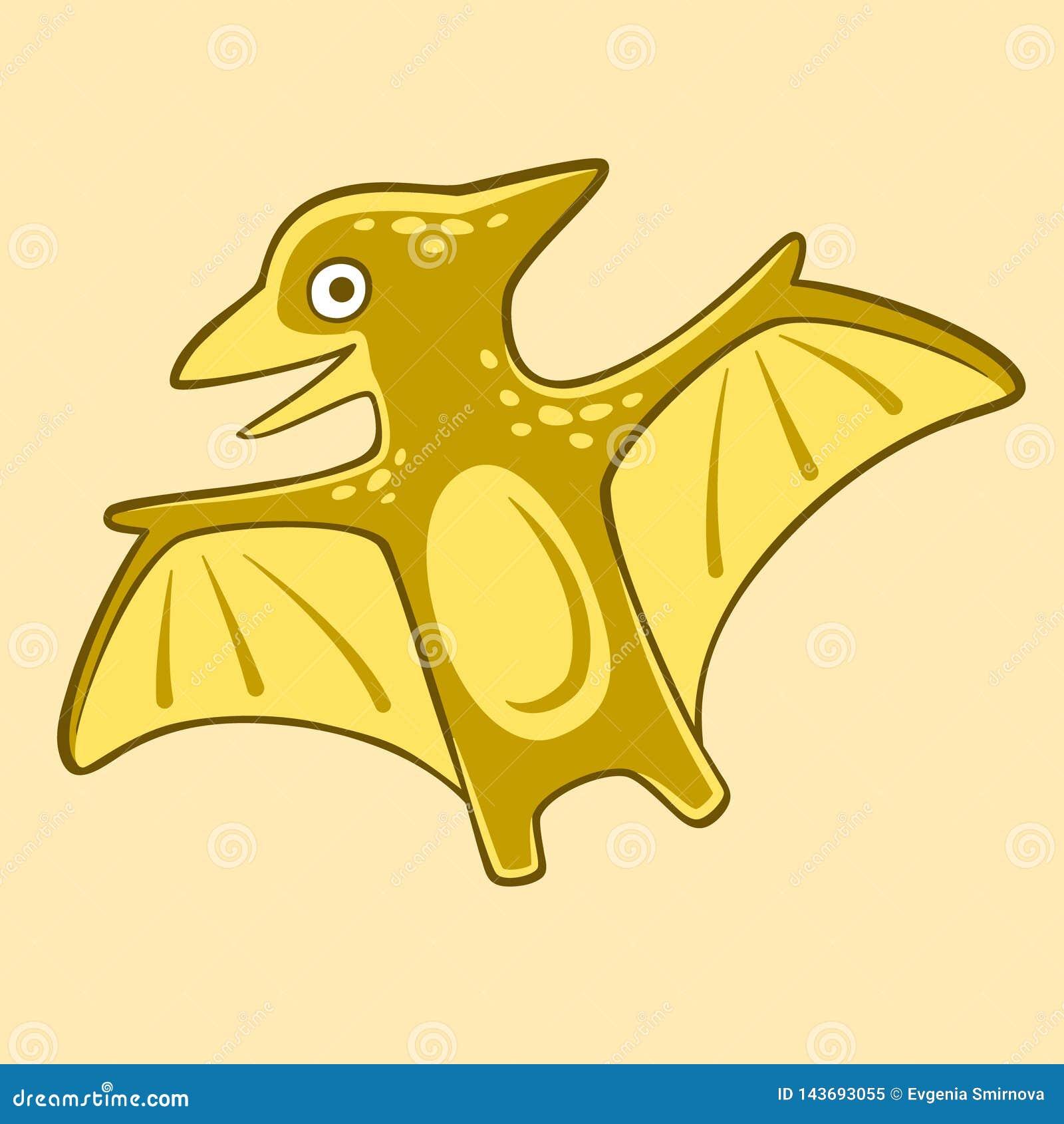 Pterodátilo engraçado vetor isolado, ilustração lisa Cartaz de Dino do bebê dos desenhos animados para o berçário