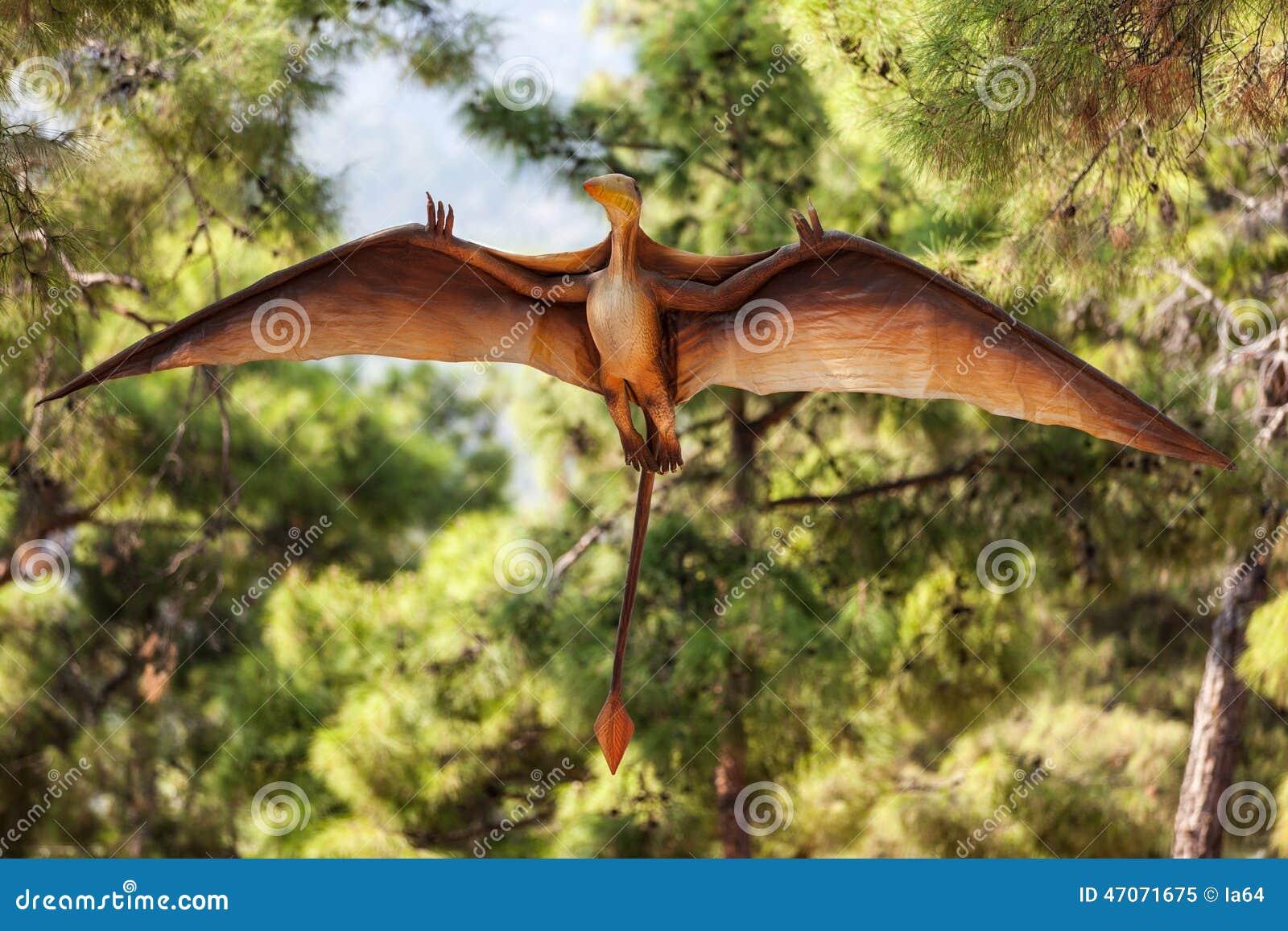 Pterodactyl dinosaur flying at forest stock photo image - Dinosaur volant ...