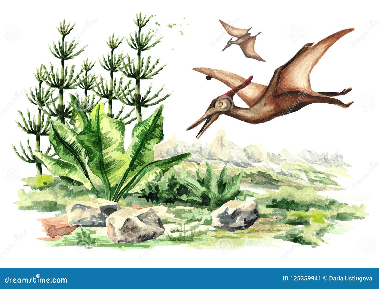 Pterodactylusdinosaurus in voorhistorisch landschap Waterverfhand getrokken die illustratie op witte achtergrond wordt geïsoleerd