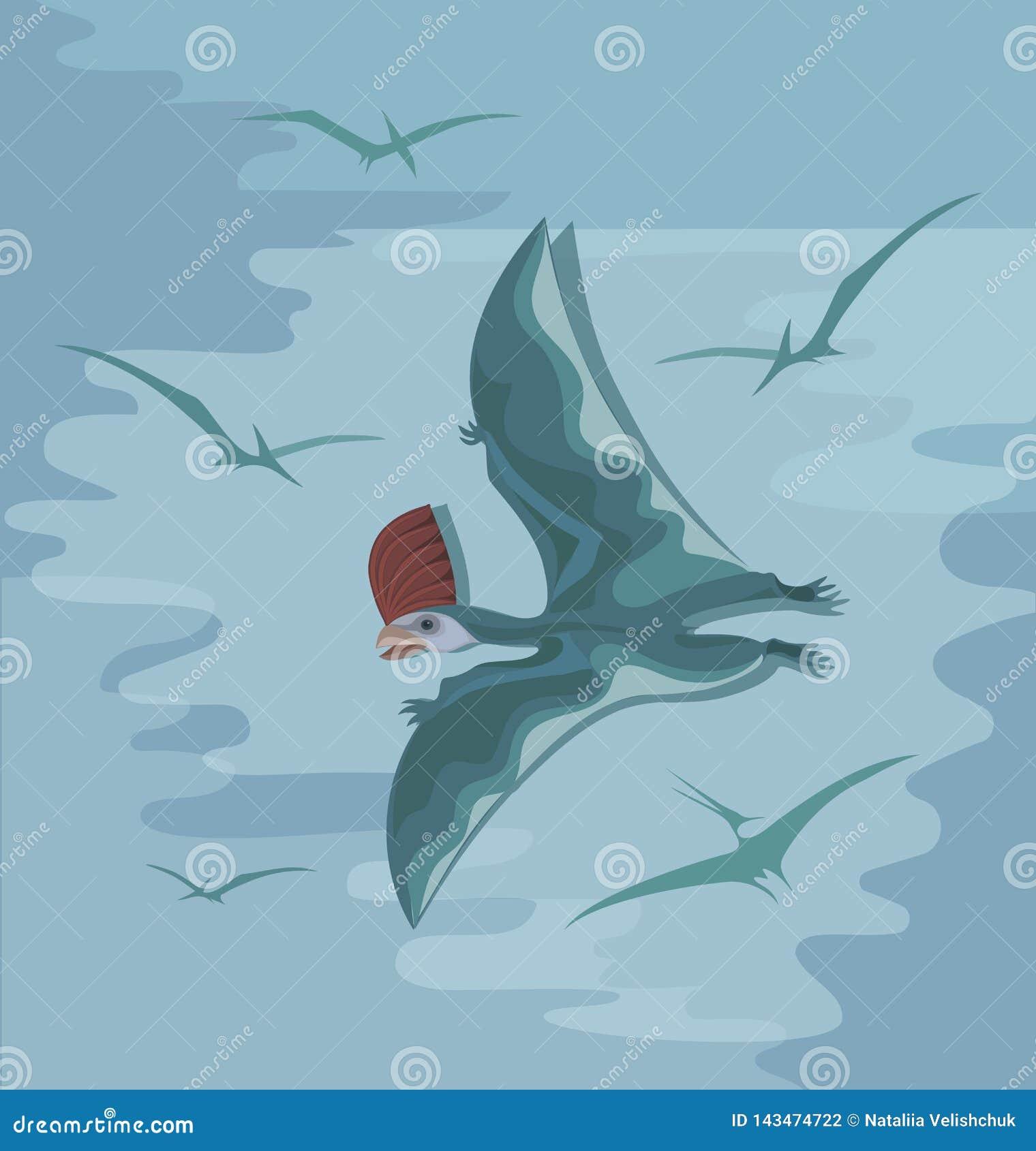 Pterosaur pré-histórico com uma crista vermelha em voo