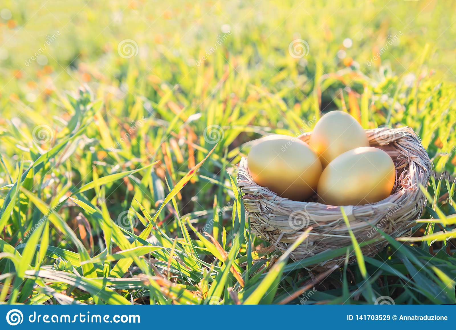Pthree golden eggs on grass to represent wealth and luck and easter concept
