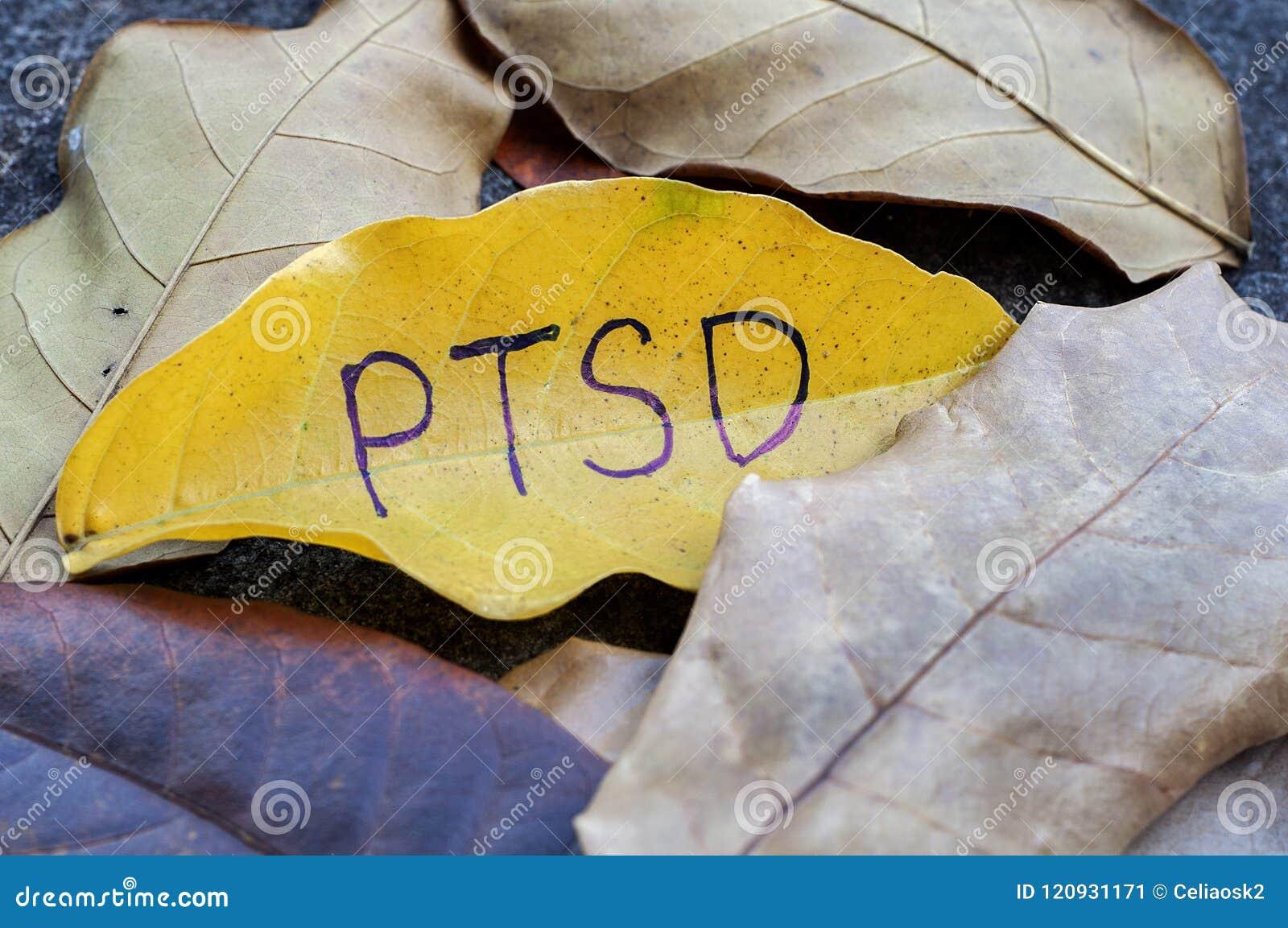 PTSD écrit sur la feuille