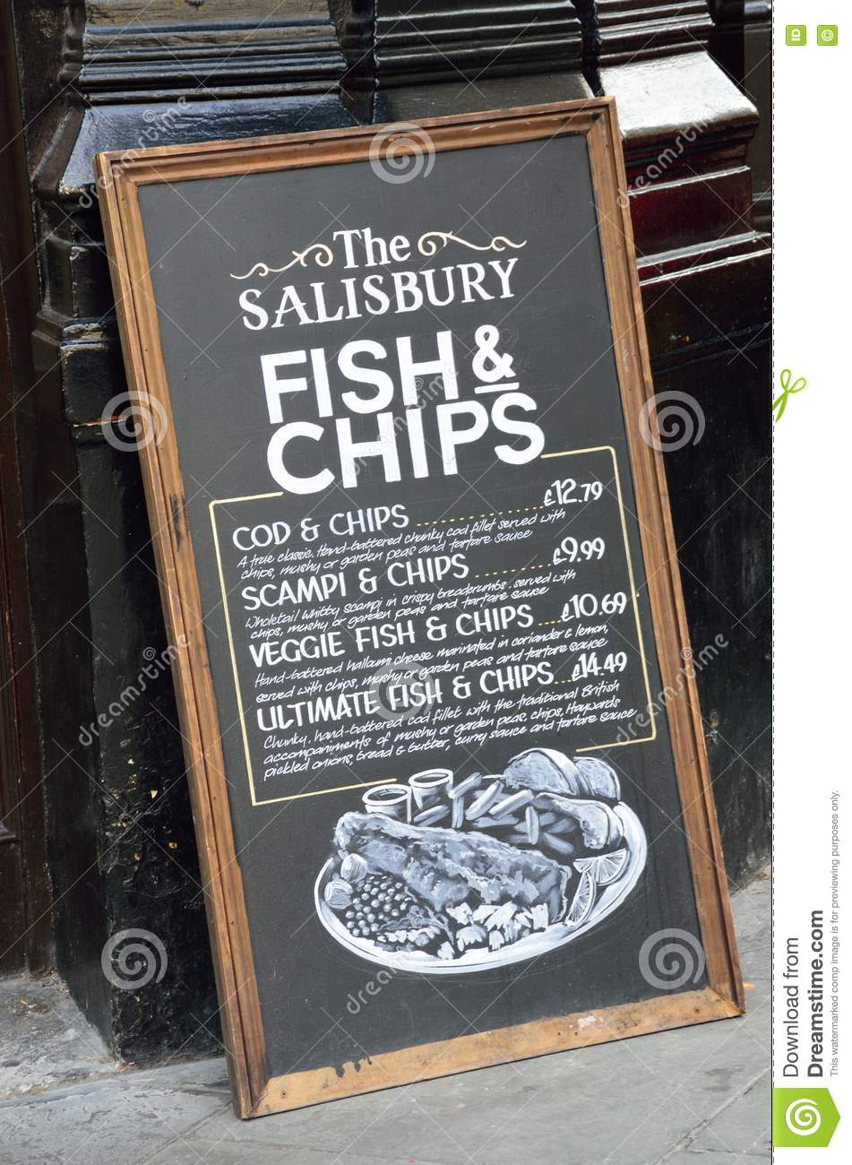 Pub Blackboard Sign Advertising Traditional English Meal