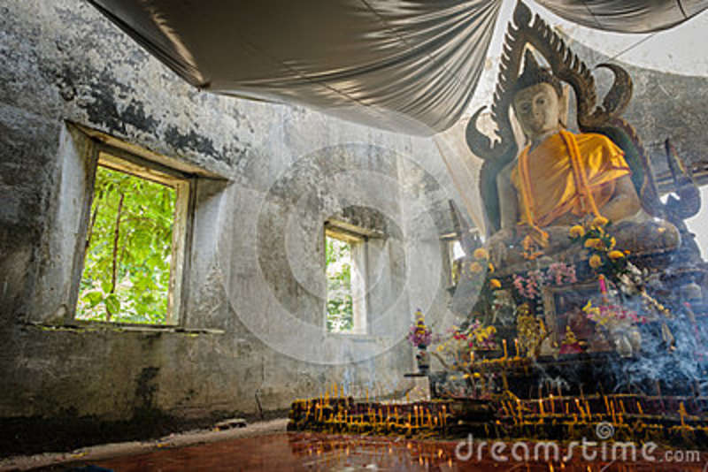 Public Ancient Thai Buddha Statue Left In The Forest For Hundred