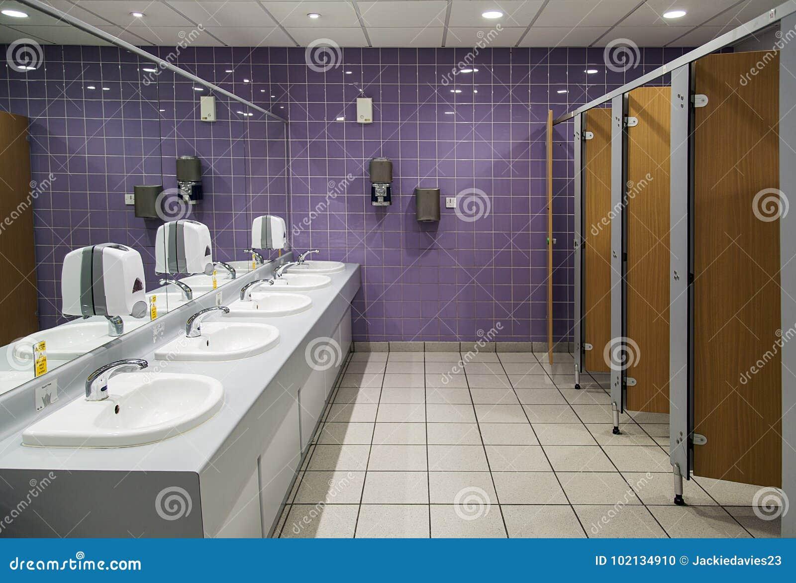 Public bathroom mirror Advertising Public Bathroom With Mirrors Cubicles And Sink Units Dreamstimecom Public Bathroom Stock Photo Image Of Handbasin Mirror 102134910