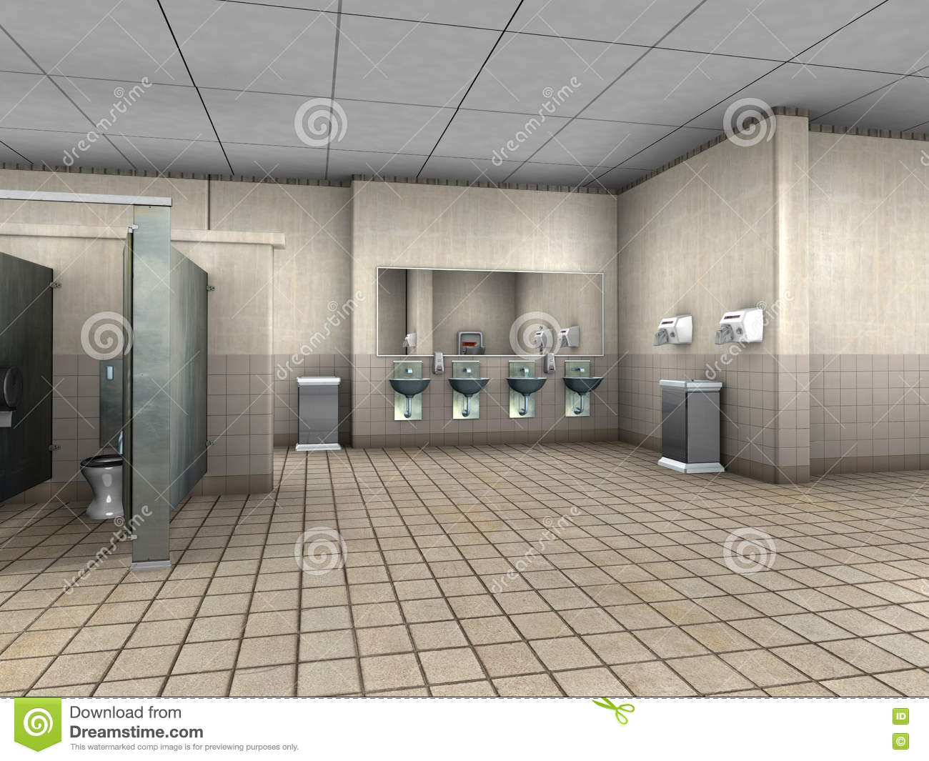Public Bathroom Restroom Illustration Stock Photography