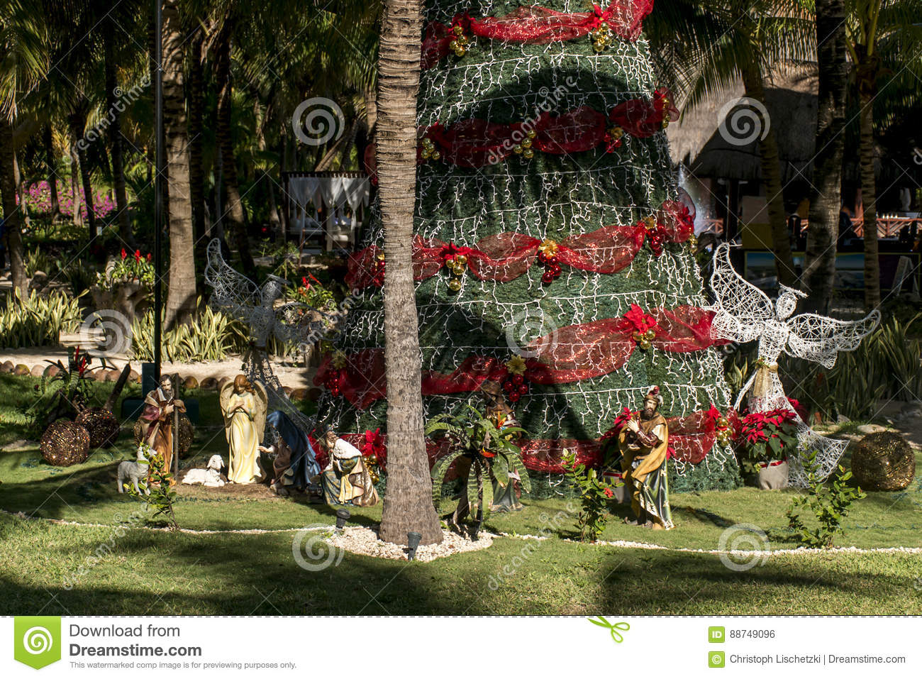 Christmas In Cancun.Public Christmas Tree With Red Band Between Palms In Sun In