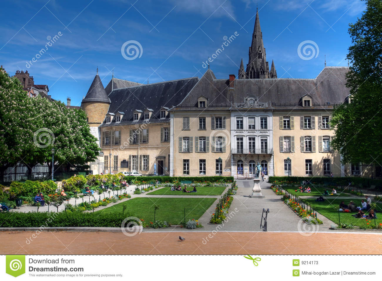 Public gardens and old town hall grenoble france stock for Hotel design grenoble
