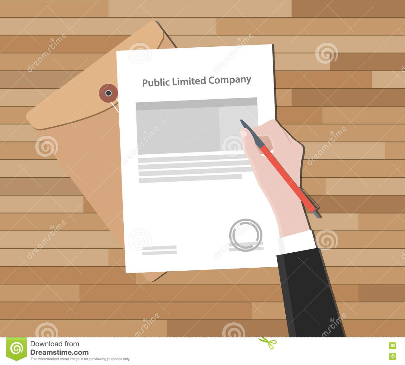 Public Limited Company With Hand Sign A Legal Paper Stamp