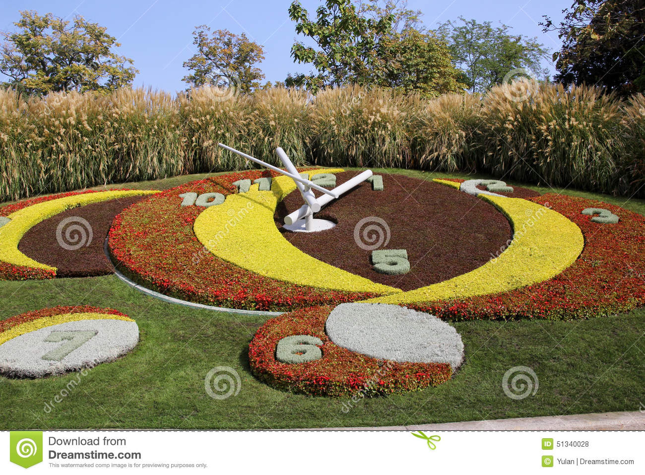 public park in geneva with flower clock stock photo