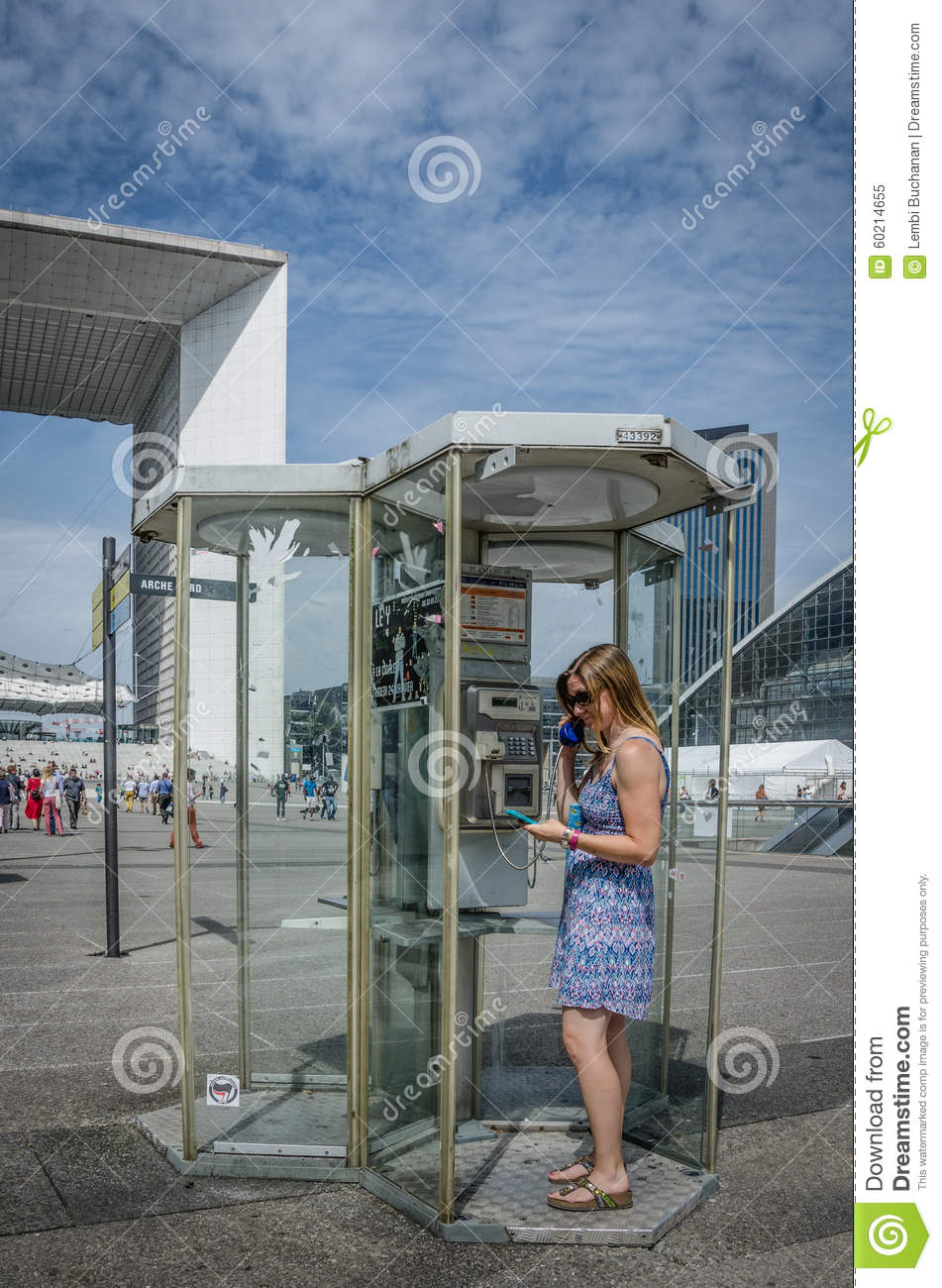 Public Phone Booth At La Defense In Paris Editorial Image - Image of