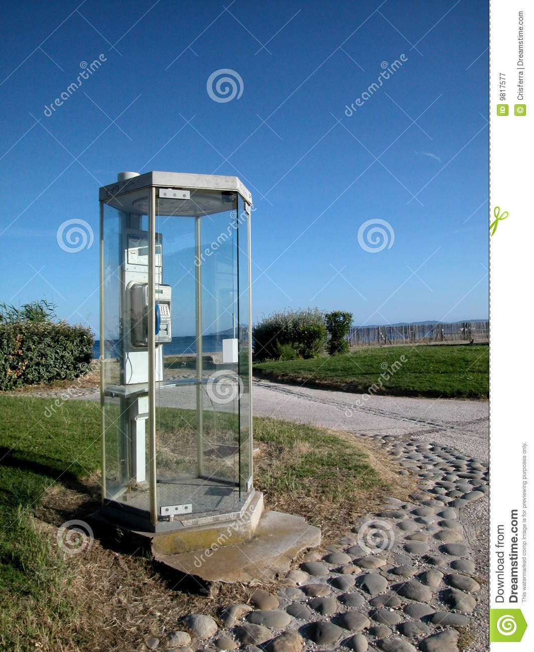 Public phone cabin by the sea royalty free stock for Cabin by the sea